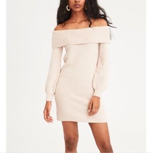NWT American Eagle Off Shoulder Sweater Dress Tan